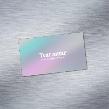 modern holographic style rainbow customize business card magnet