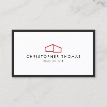 modern home logo in red for real estate, realtor business card