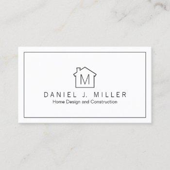 modern home logo monogram minimalist plain elegant business card