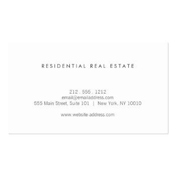 Small Modern Home Logo Real Estate, Realtor Gray Linen Business Card Back View