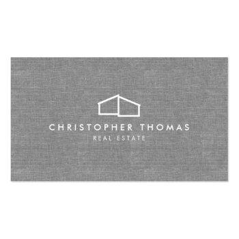 Small Modern Home Logo Real Estate, Realtor Gray Linen Business Card Front View