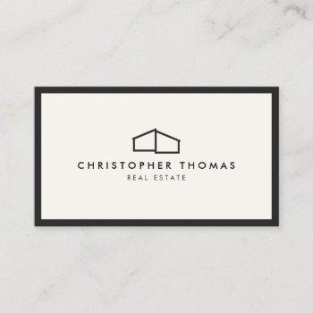 modern home logo real estate, realtor ivory/black business card