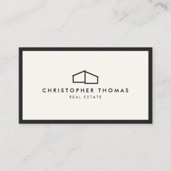 modern home logo real estate, realtor ivory/black business card