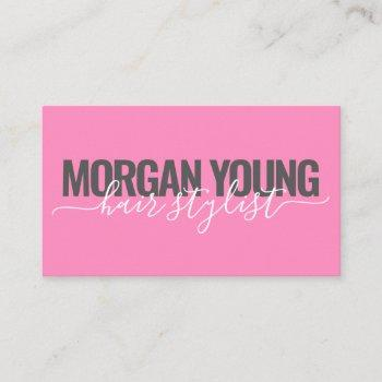 modern hot pink hair stylist script signature business card