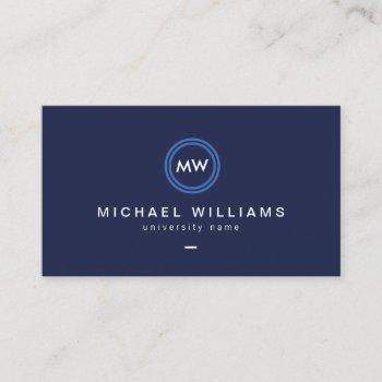 modern initials iii graduate student business card