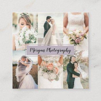 modern lavender photographer photo collage plain square business card