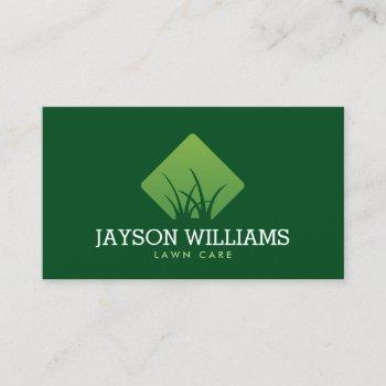 modern lawn care/landscaping grass logo green business card