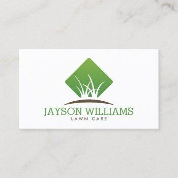 modern lawn care/landscaping grass logo white business card