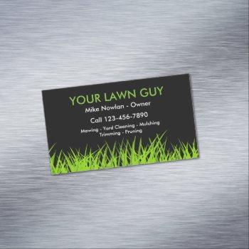 modern lawn service simple business card magnet