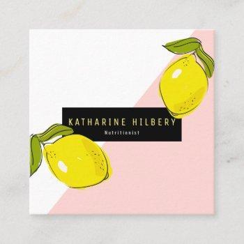 modern lemon pink white block square business card
