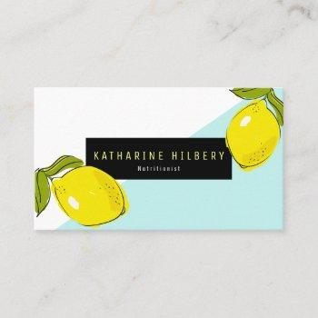 modern lemon turquoise white block business card