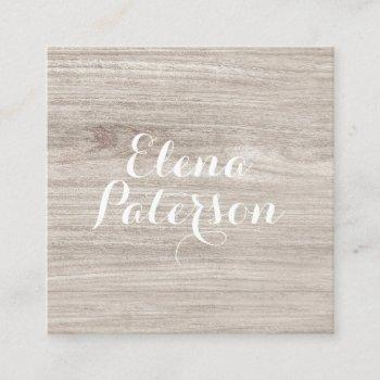 modern light wood grain rustic handmade script square business card