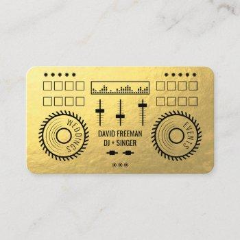modern luxury gold foil black dj music turntable business card