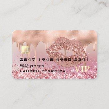 modern luxury rose gold lips faux debit card