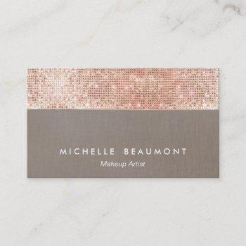 modern makeup artist  faux rose gold sequins business card
