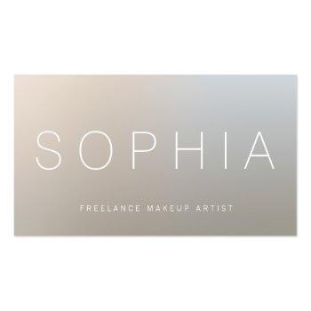 Small Modern Makeup Artist Luminous Silver Business Card Front View