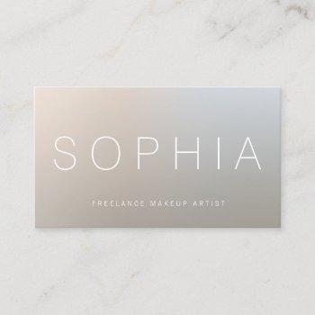 modern makeup artist luminous silver business card