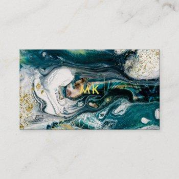 modern marble   blue green and gold splatter business card