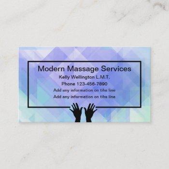 modern massage services business card
