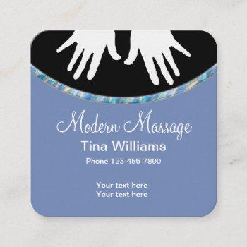 modern massage unique design square business card