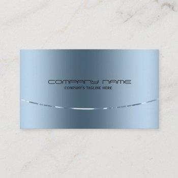 modern metallic blue stainless steel look business card
