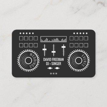 modern minimal black and white dj music turntable business card