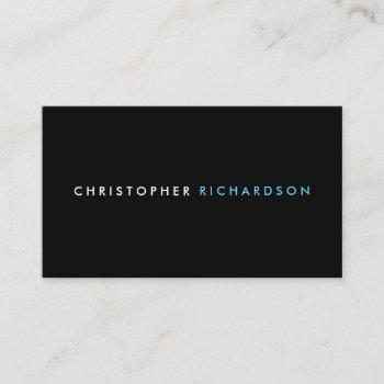 modern & minimal black business card