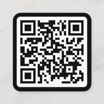 modern minimal black custom qr code social media square business card