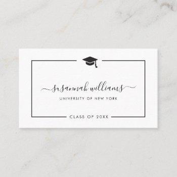 modern minimal chic script graduation calling card