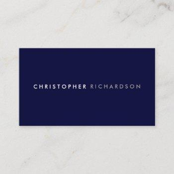 modern & minimal dark navy blue business card