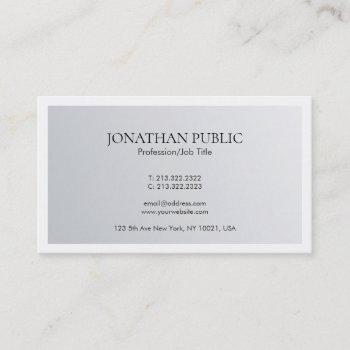 modern minimal design trendy elegant silver look business card