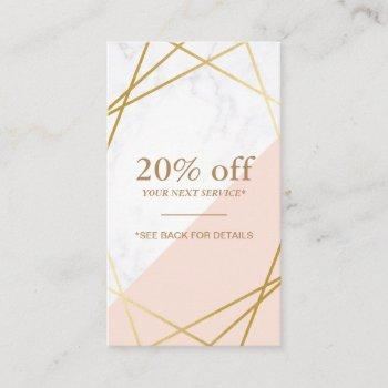 modern minimal geometric marble discount vertical business card