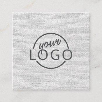 modern minimal light gray linen custom logo square business card