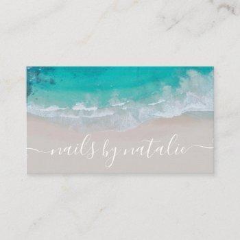 modern minimal ocean beach typography chic business card