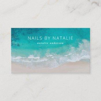 modern minimal ocean beach typography chic business card