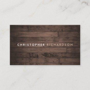 modern & minimal on rustic brown wood business card
