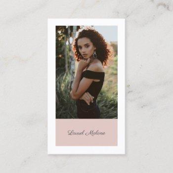 modern minimalist actor model social media pink business card