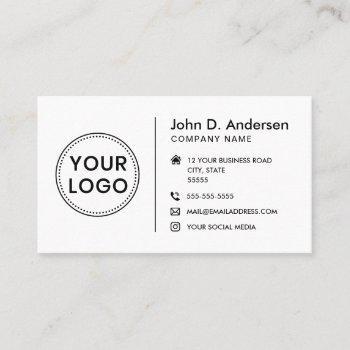 modern minimalist add logo social media icons business card