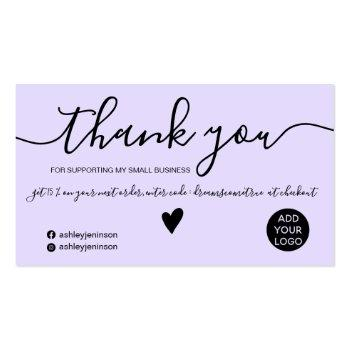 Small Modern Minimalist Black And Purple Order Thank You Business Card Front View
