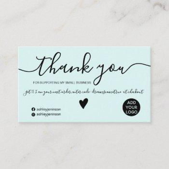 modern minimalist black and teal order thank you business card