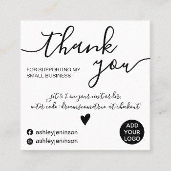 modern minimalist black and white order thank you square business card