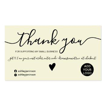 Small Modern Minimalist Black And Yellow Order Thank You Business Card Front View