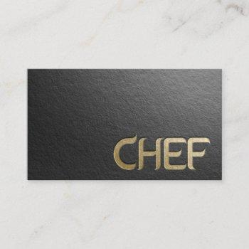 modern minimalist black & gold embossed text chef business card