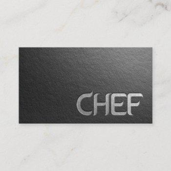 modern minimalist black silver embossed text chef business card