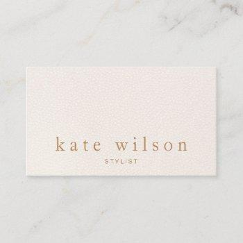 modern minimalist blush pink leather professional business card