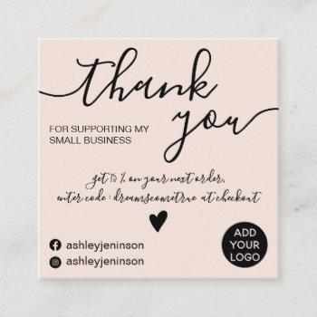 modern minimalist blush pink order thank you square business card