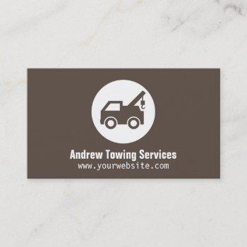 modern minimalist brown truck towing services business card