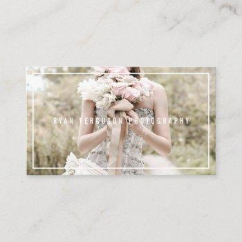 modern minimalist chic white photography photo business card