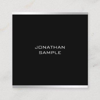 modern minimalist design professional chic silver square business card