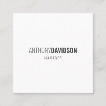 modern minimalist elegant professional square business card